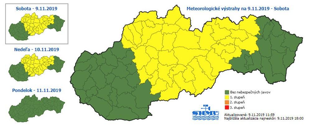 SHMÚ varuje. Výstraha pred silnými dažďami platí pre viaceré časti Slovenska