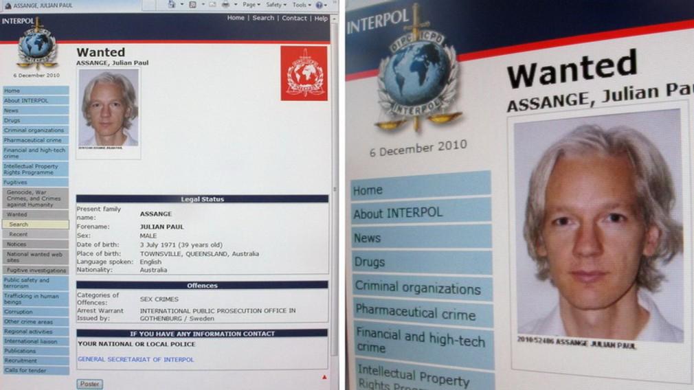 Identita Julian Assange, wanted
