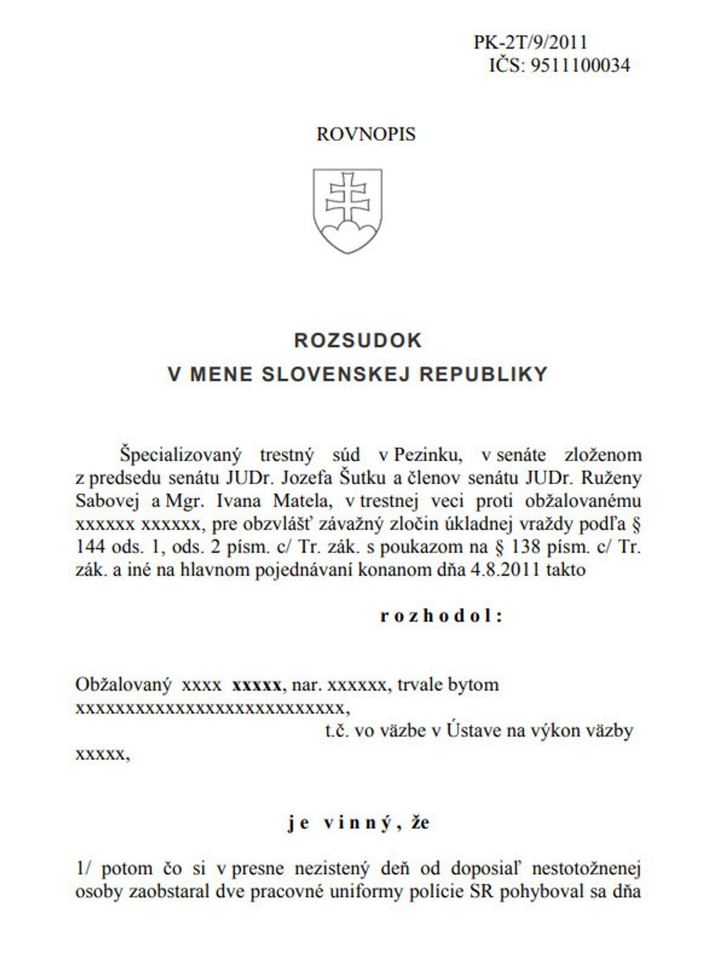 Rozsudok ŠTS v prípade vraždy exprimátora Hurbanova - strana 1
