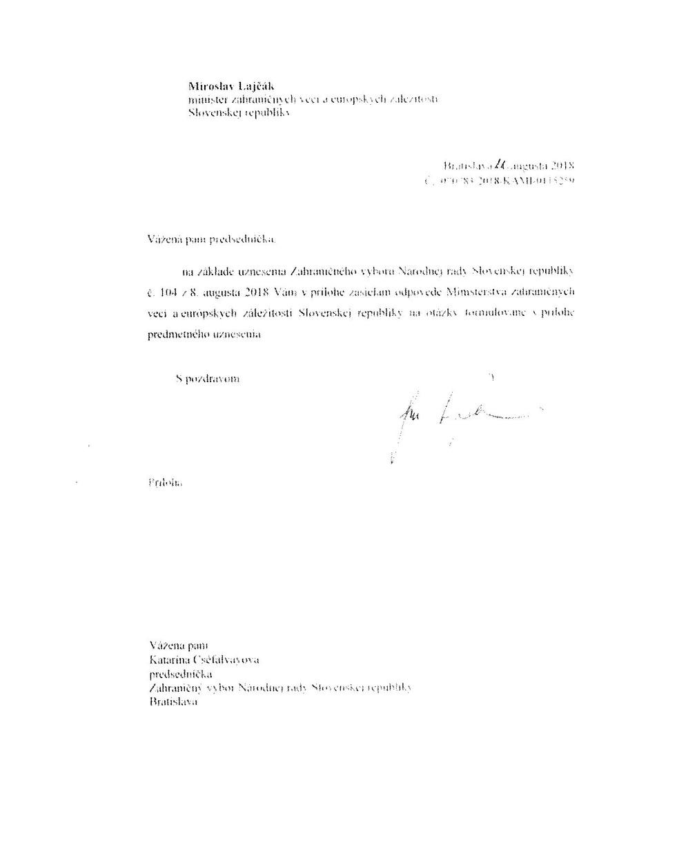 Stanovisko ministerstva zahraničia ku kauze Únosu vietnamského občana a otázkam Zahraničného výboru Národnej rady Slovenskej republiky