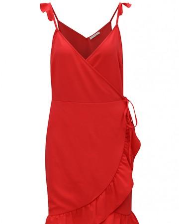 Červené zavinovacie šaty s volánmi 76fd535cca