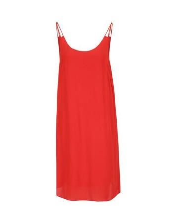 Červené voľné šaty s tenkými ramienkami f4662e57e7
