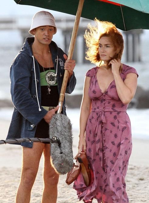 Justin Timberlake a Kate Winslet počas nakrúcania filmu Koleso zázrakov