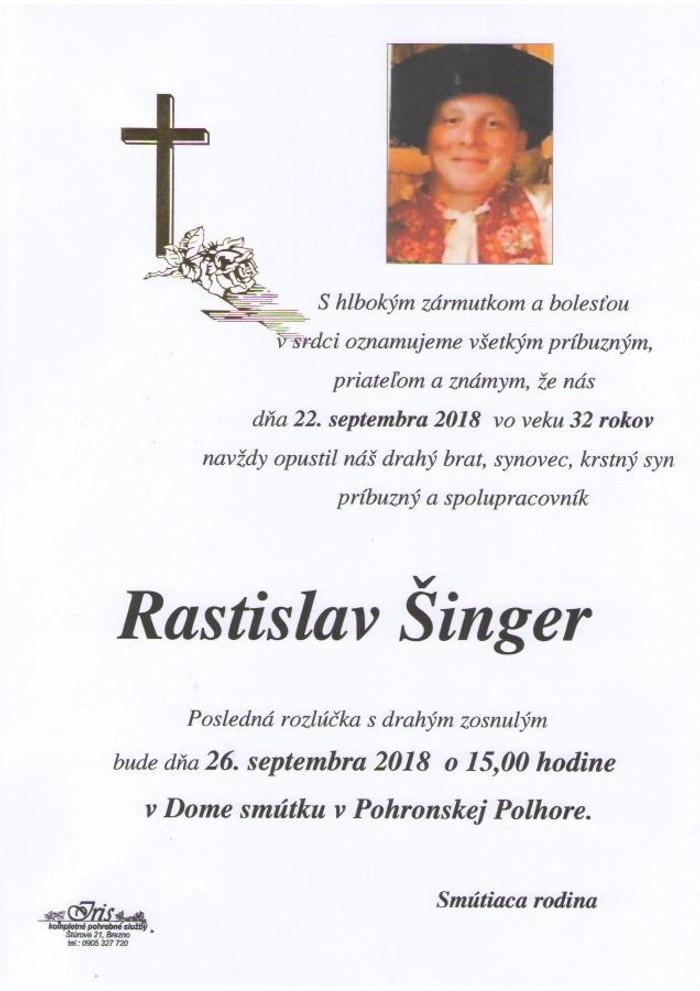 Rozlúčka s Rastislavom Šingerom
