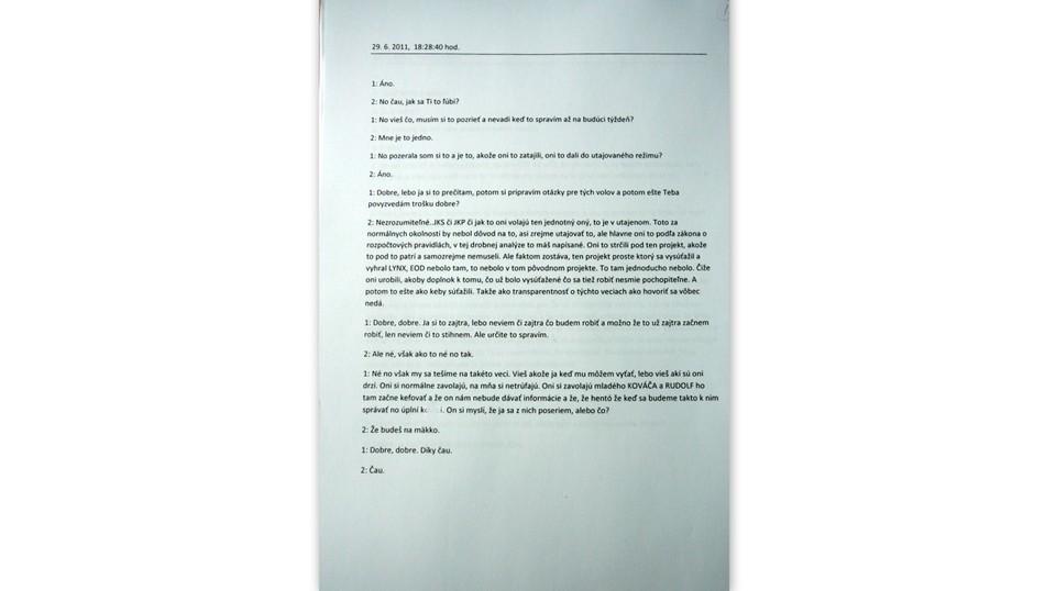 Dokument prepis telefonátu Vavrová Kaliňák