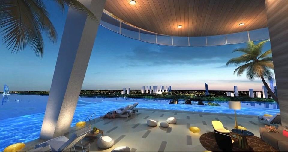 Nekonečný bazén na 50. poschodí  The Palm Tower