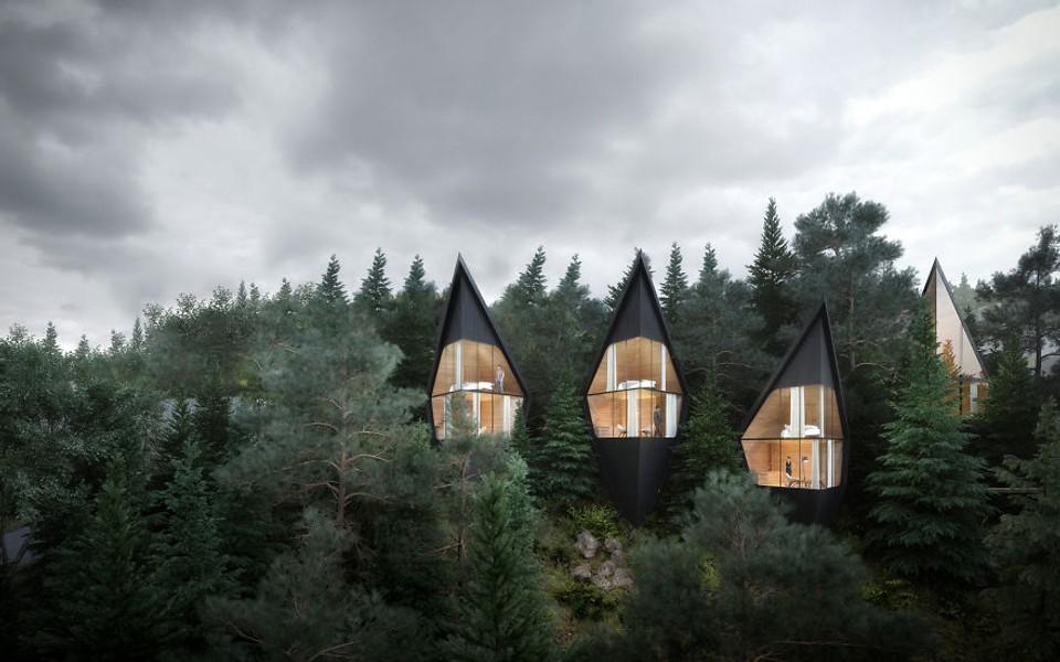Futuristické kabíny v talianskom pohorí Dolomity