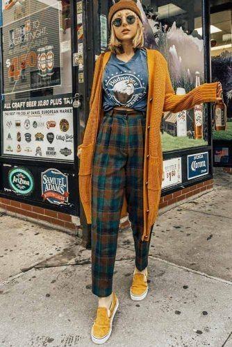 kockované nohavice, jesenná móda
