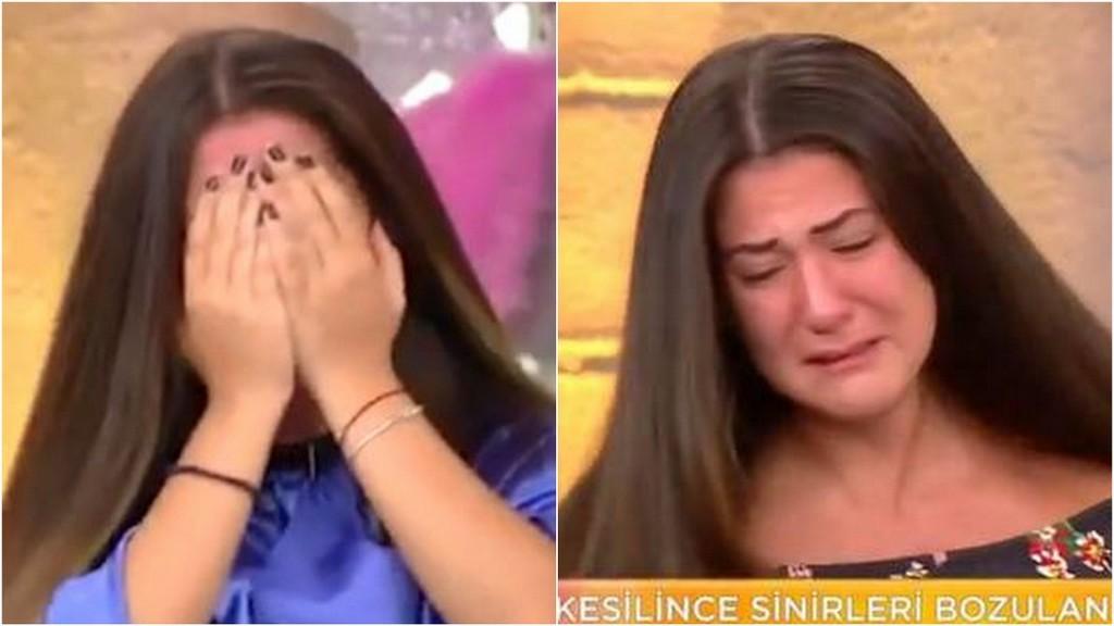 žena plače, strihanie vlasov