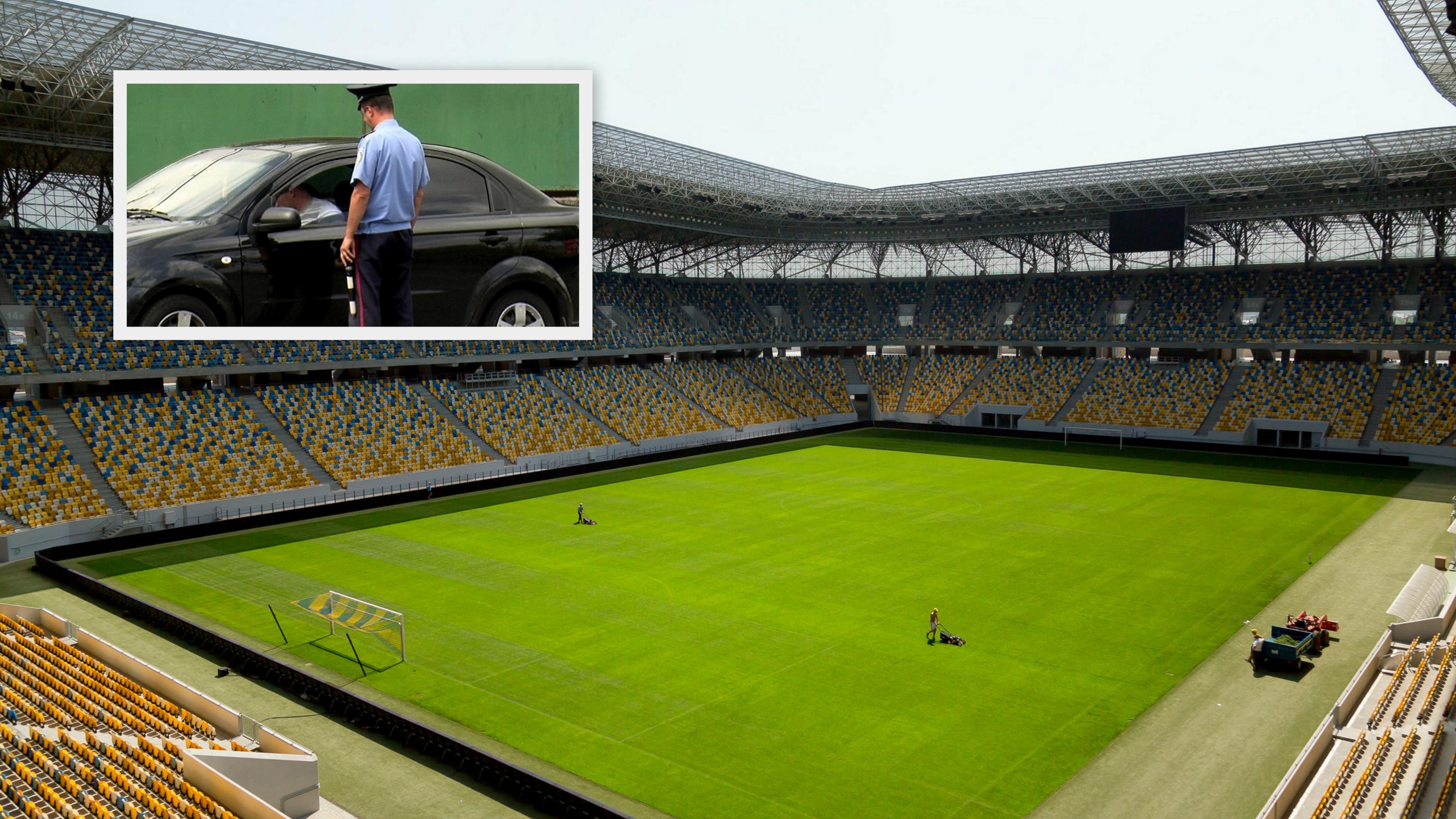 Ukrajina_futbalový štadión_ME_policajt_koláž fotiek