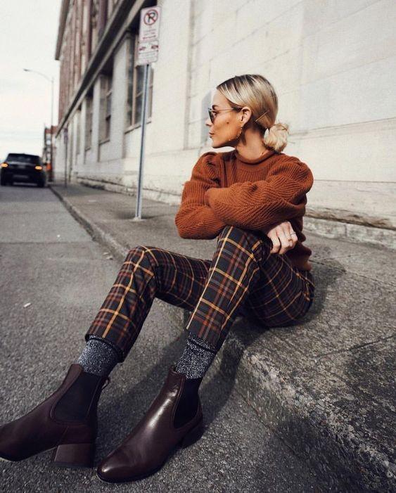 kockované nohavice, jesenné trendy